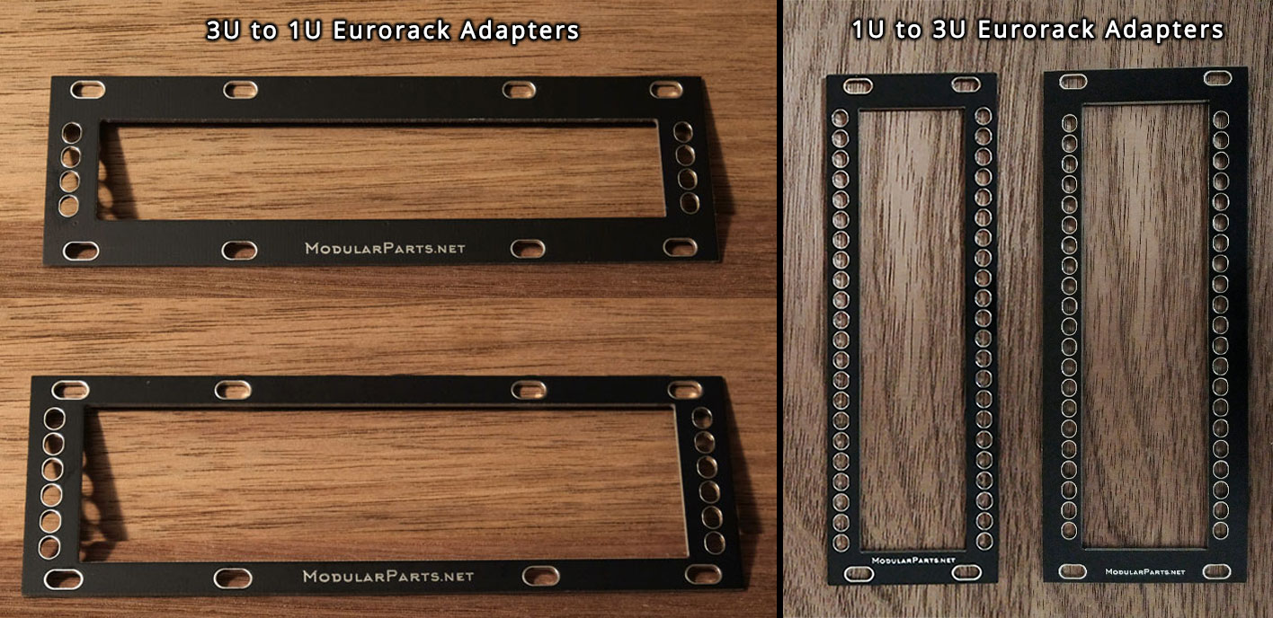 3u to 1u and 1u to 3u adapters for eurorack modular synthesizers